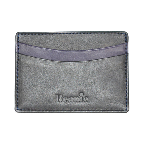 100% Leather Flat Card Case Black and Purple