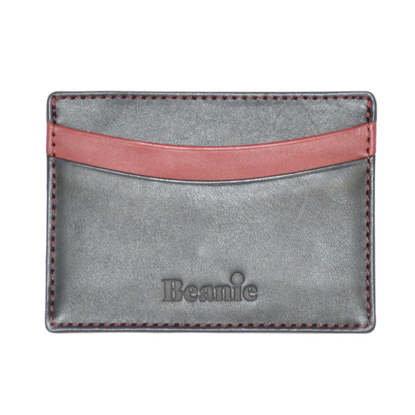 100% Leather Flat Card Case Black and Red