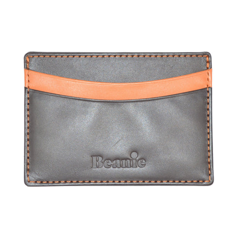 100% Leather Flat Card Case Brown and Orange