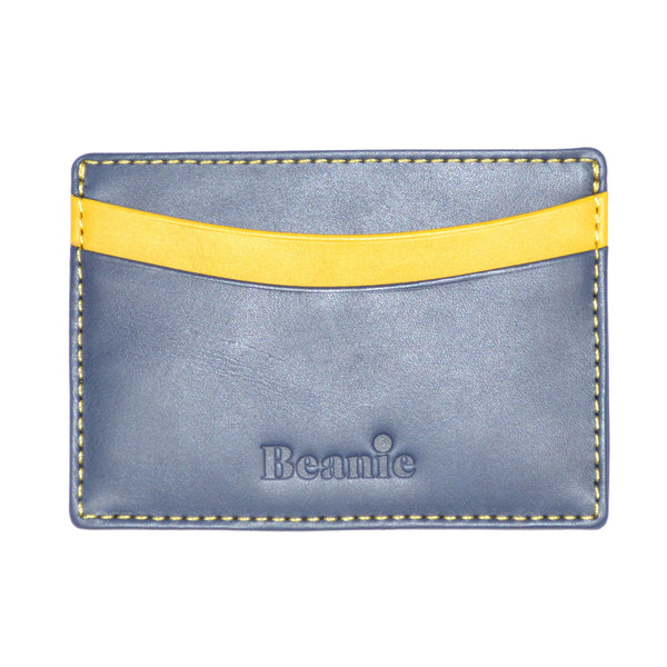 100% Leather Flat Card Case Navy and Yellow