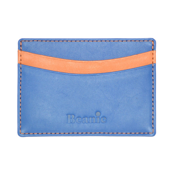 100% Leather Flat Card Case Blue and Orange
