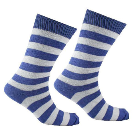 Men's Cotton Striped Sock Blue and White