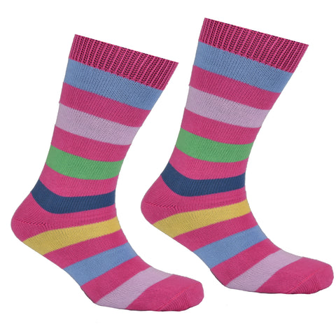 Cotton Multi Striped Socks Pink