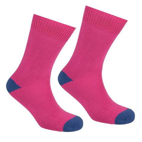 Cotton Heel and Toe Socks Pink and Blue