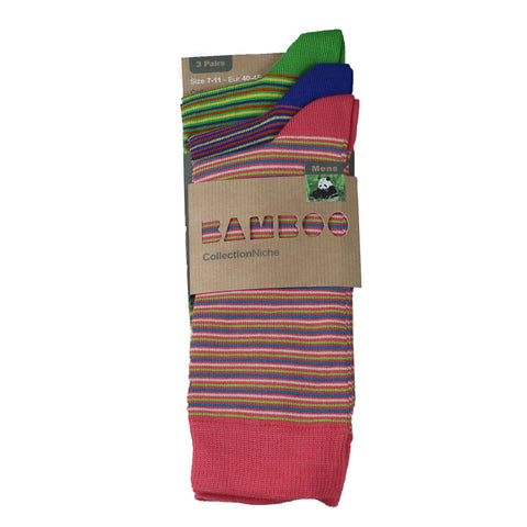 Men's 100% Bamboo Thin Stripe Socks Green Blue and Pink