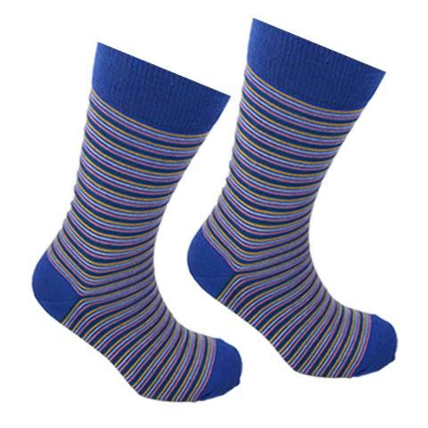 Cotton Thin Stripe Socks Blue