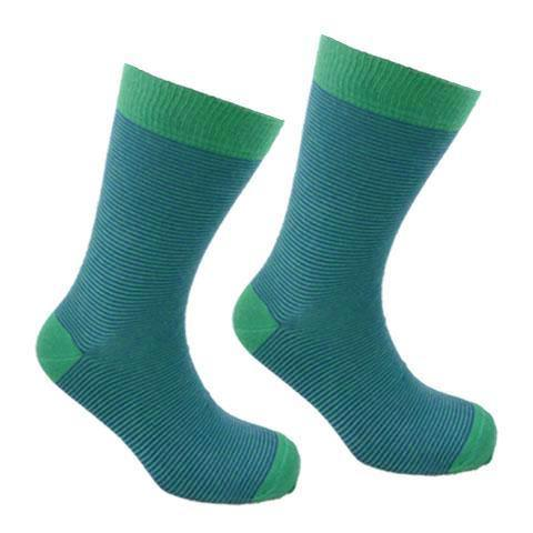 Cotton Thin Stripe Socks Green and Blue