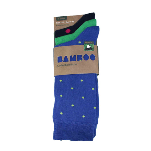 MEN'S 100% BAMBOO GRADUAL DOT SOCKS - 3 PACK
