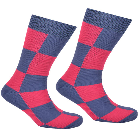 Cotton Checkered Socks Blue and Pink