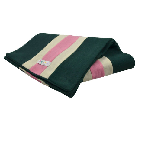 100% Wool Scarf Uni-Sex Green White and Pink