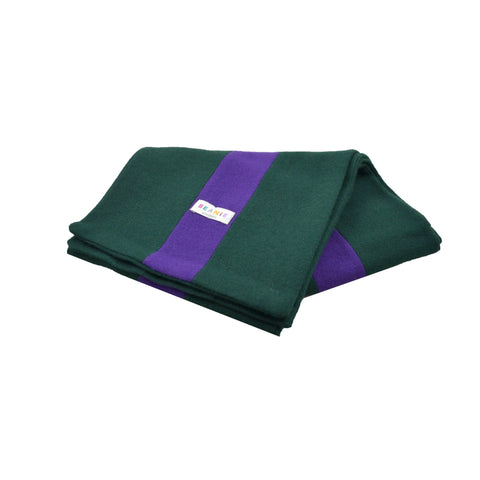 100% Wool Scarf Uni-Sex Green and Purple