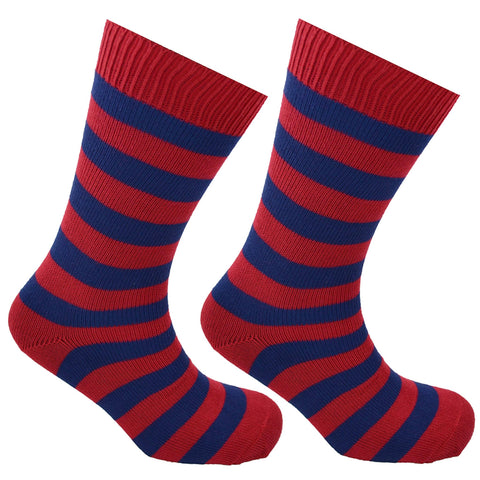 Cotton Hooped Socks Red and Dark Blue