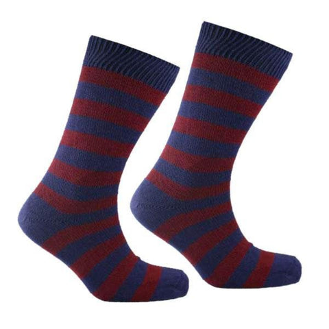 Cotton Striped Socks Dark Blue and Burgundy