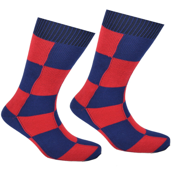 Cotton Checkered Socks Dark Blue and Red