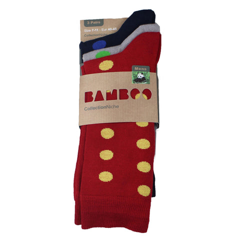 Men's 100% Bamboo Polka Dot Socks Navy Grey and Red
