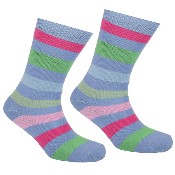 Cotton Multi Striped Socks Lilac Blue