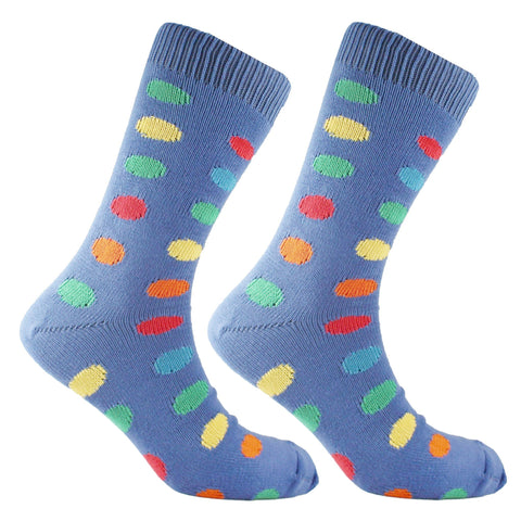 Cotton Large Polka Dot Sock Blue