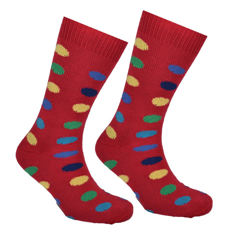 Cotton Large Polka Dot Sock Red