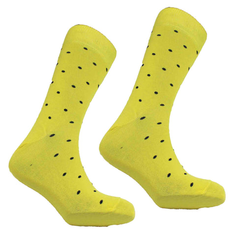 MEN'S SMALL DOT SOCKS - LEMON/NAVY