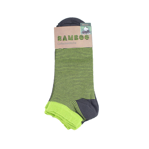 Men's 100% Bamboo Trainer Socks - Lime Multi