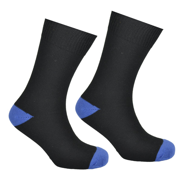 Cotton Heel and Toe Socks Black and Blue