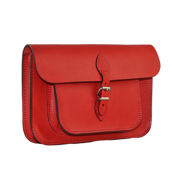 WOMEN'S FINE LEATHER SATCHEL BAG - RED