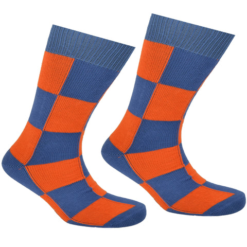 Cotton Checkered Socks Blue and Orange
