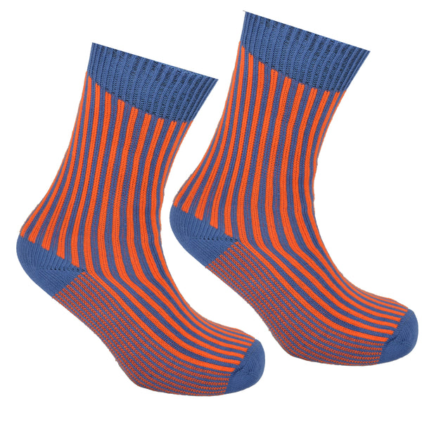 Cotton Striped Socks Blue and Orange