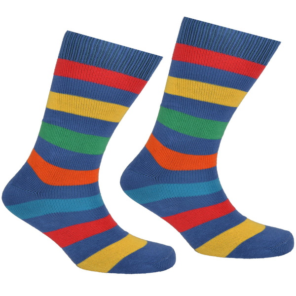 Cotton Multi Striped Socks Blue