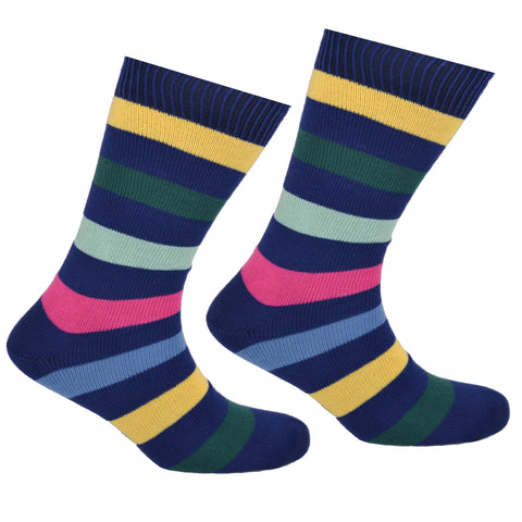 Cotton Multi Striped Socks Navy Blue