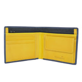 100% Leather Wallet with Coin Purse Navy and Yellow