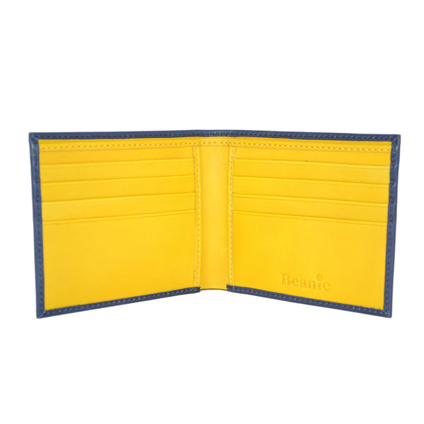100% Leather Wallet Navy and Yellow