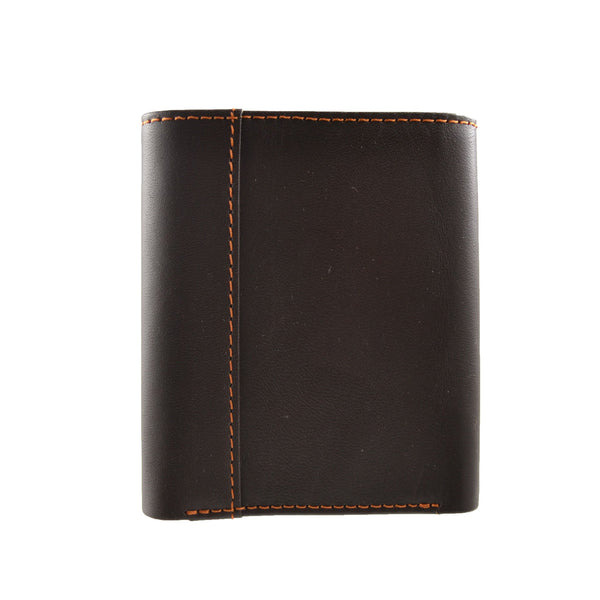 100% Leather Tri-Fold Wallet Brown and Orange