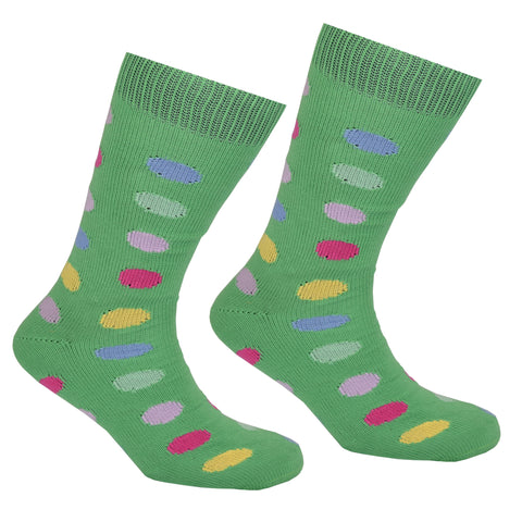 Cotton Large Polka Dot Sock Green