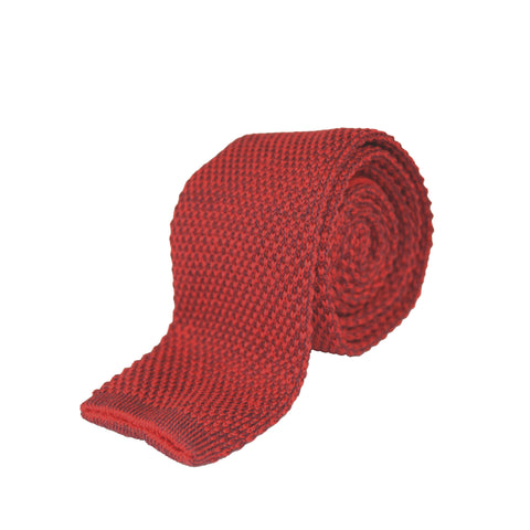 Wool/Cotton Knitted Tie - Red