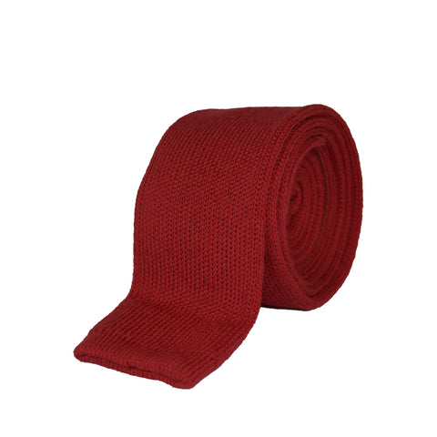 100% Wool Tie Dark Red