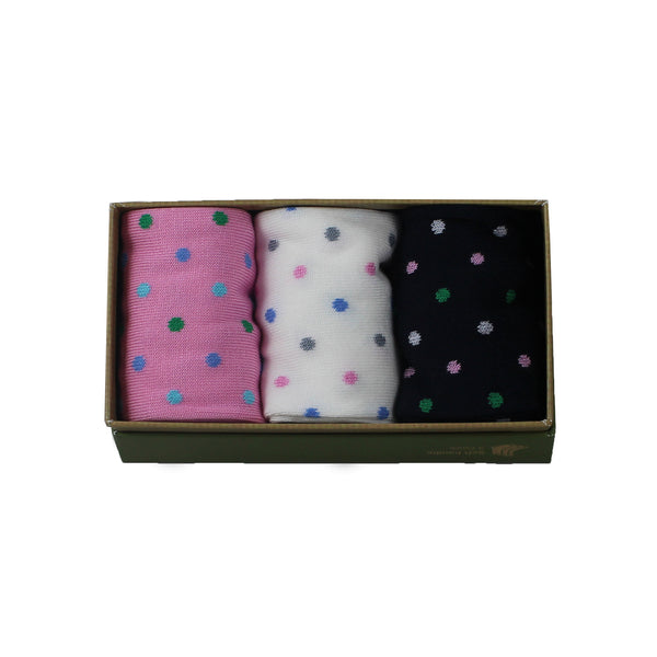 Women's Bamboo Gift Box Pink White and Black Polka Dots