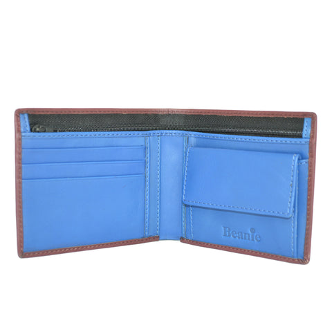 100% Leather Wallet with Coin Purse Burgundy and Blue