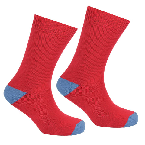 Cotton Heel and Toe Socks Red and Grey