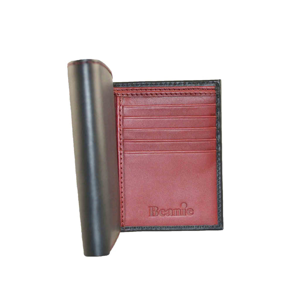 Three-Folding Black and Red Wallet