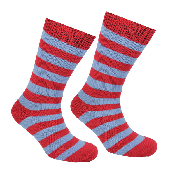 Cotton Striped Socks Red and Light Blue