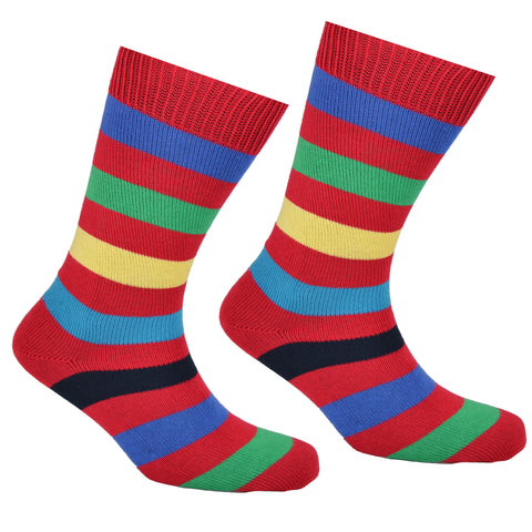Cotton Multi Striped Socks Red
