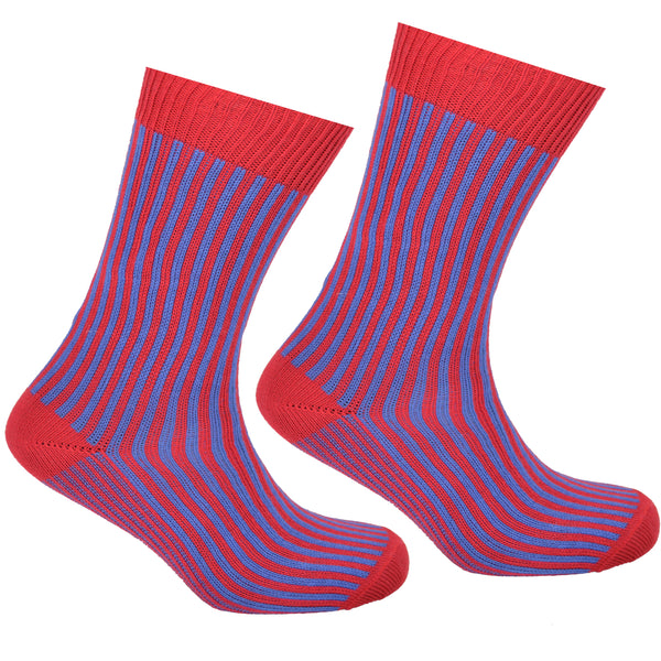 Cotton Striped Socks Red and Blue