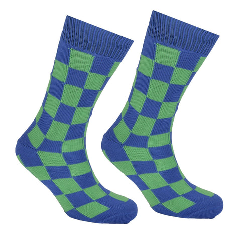 Cotton Checked Socks Blue and Green