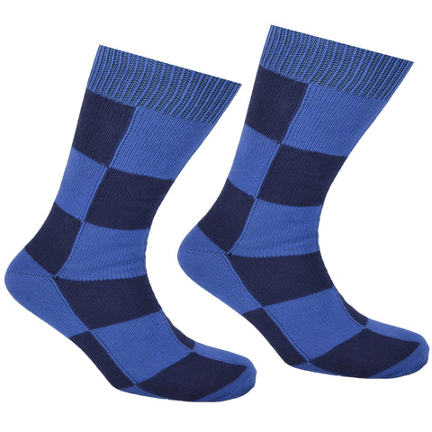 Cotton Checkered Socks Dark Blue and Light Blue