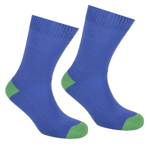 Cotton Heel and Toe Socks Blue and Green