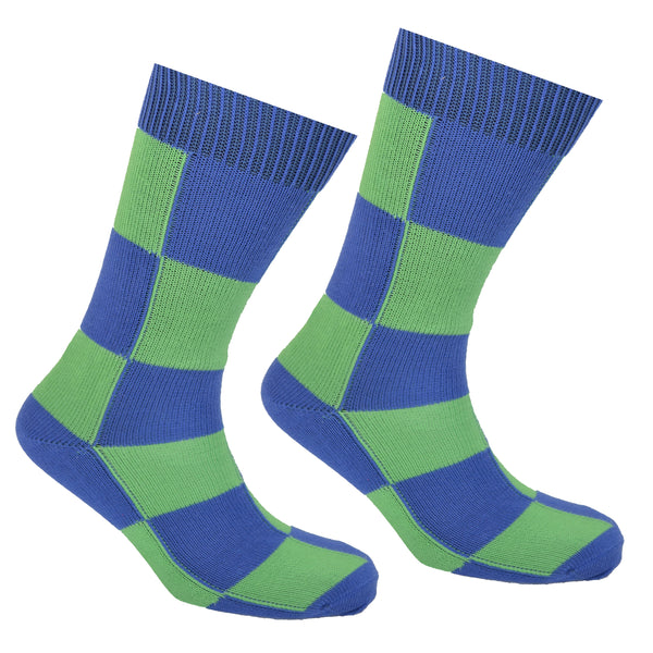 Cotton Checkered Socks Blue and Green