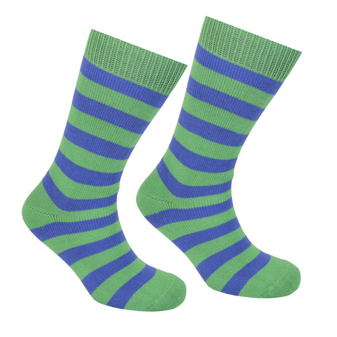 Cotton Striped Socks Green and Blue