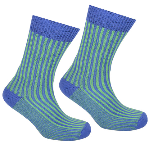 Cotton Striped Socks Blue and Green