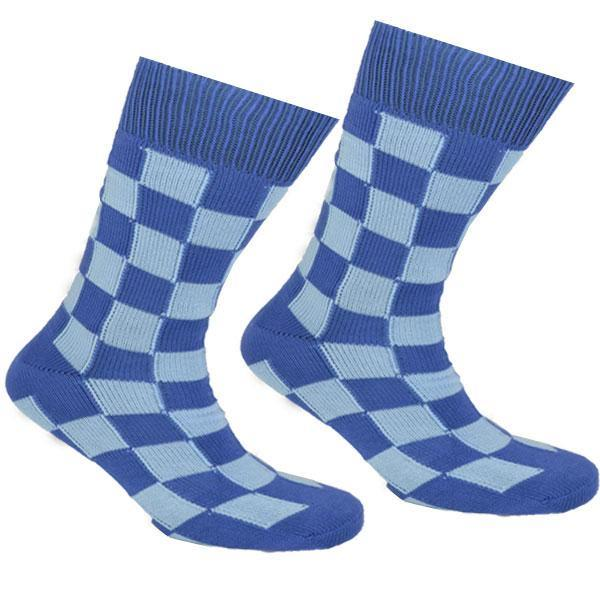Cotton Checked Socks Blue and Light Blue